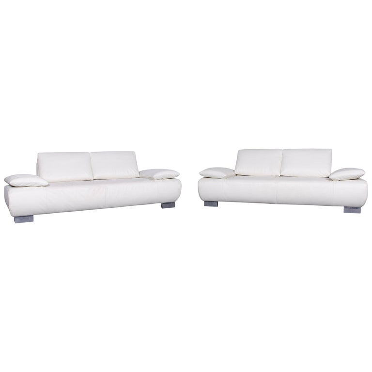 Koinor Volare Designer Sofa Set White Three-Seat Leather Couch with Function