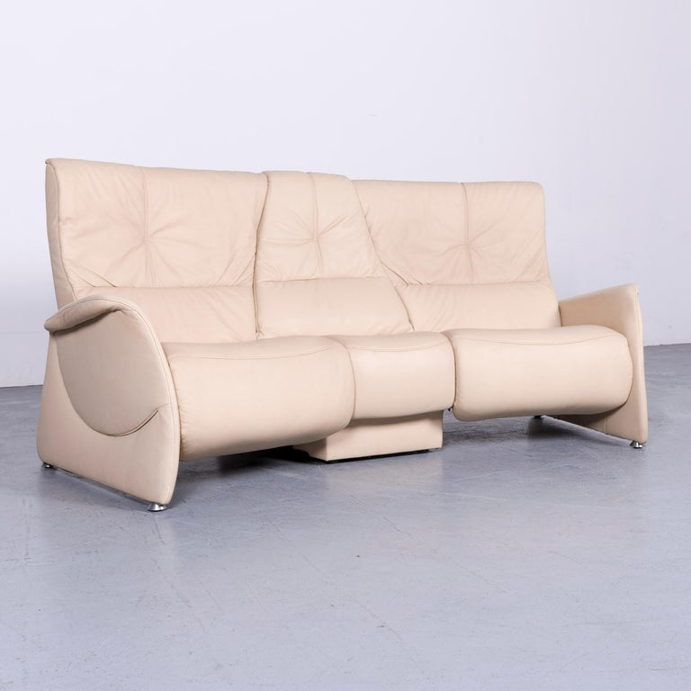 German Himolla Designer Sofa Beige Three-Seat Couch Recliner Function For Sale