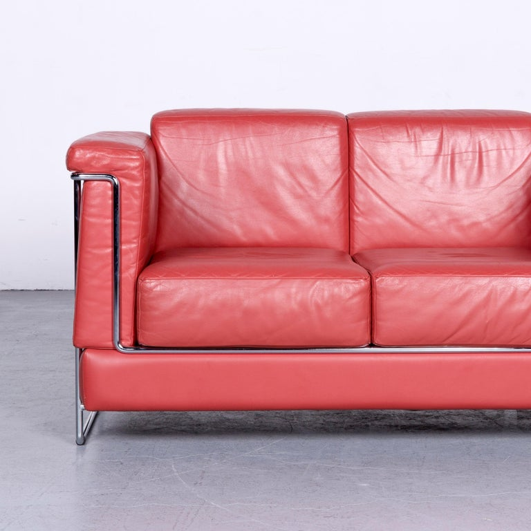 German Züco Carat Designer Leather Sofa Red Two-Seat Couch For Sale