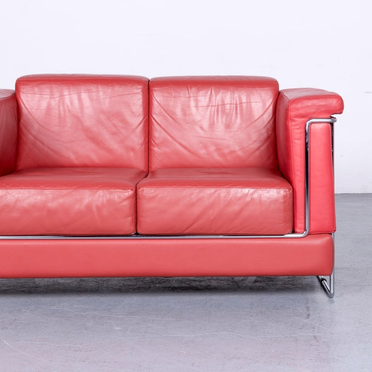Züco Carat Designer Leather Sofa Red Two-Seat Couch In Good Condition For Sale In Cologne, DE