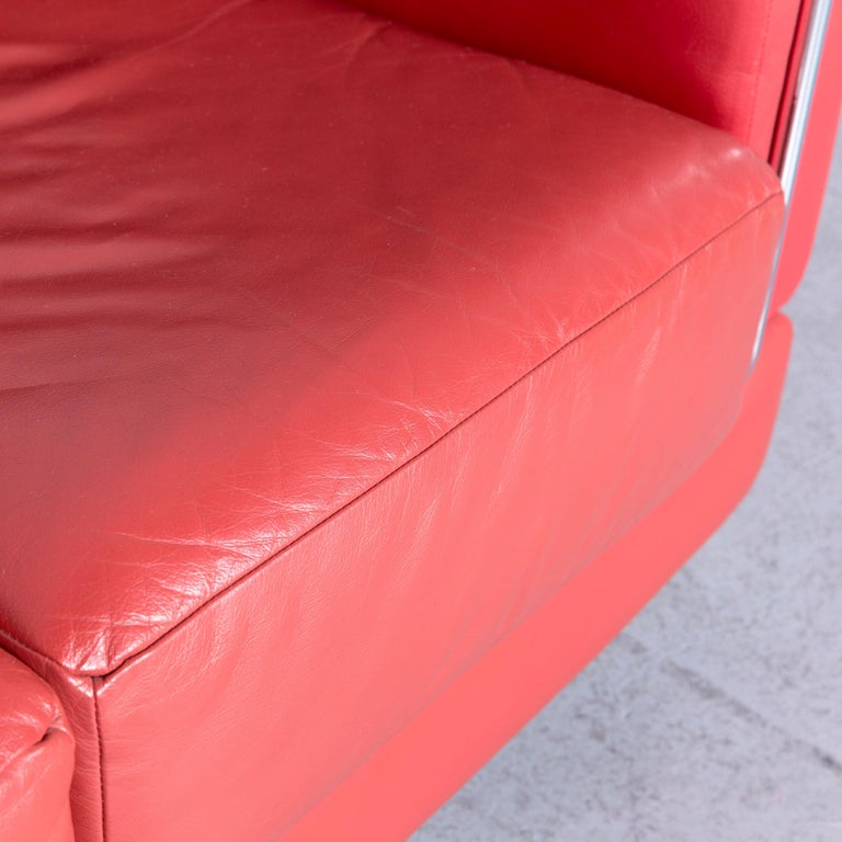 Contemporary Züco Carat Designer Leather Sofa Red Two-Seat Couch For Sale