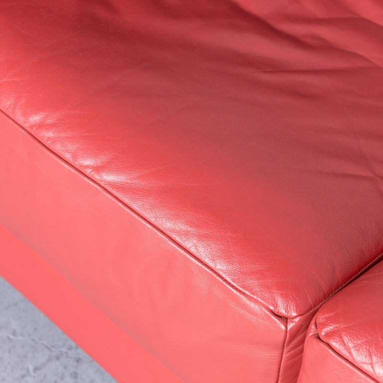 Züco Carat Designer Leather Sofa Red Two-Seat Couch For Sale 1