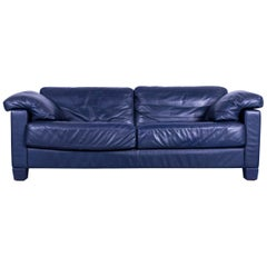 De Sede DS 17 Leather Sofa Blue Three-Seat Couch