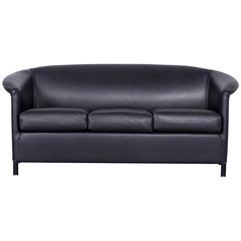 Wittmann Aura Designer Leather Sofa Black Two Seat Couch