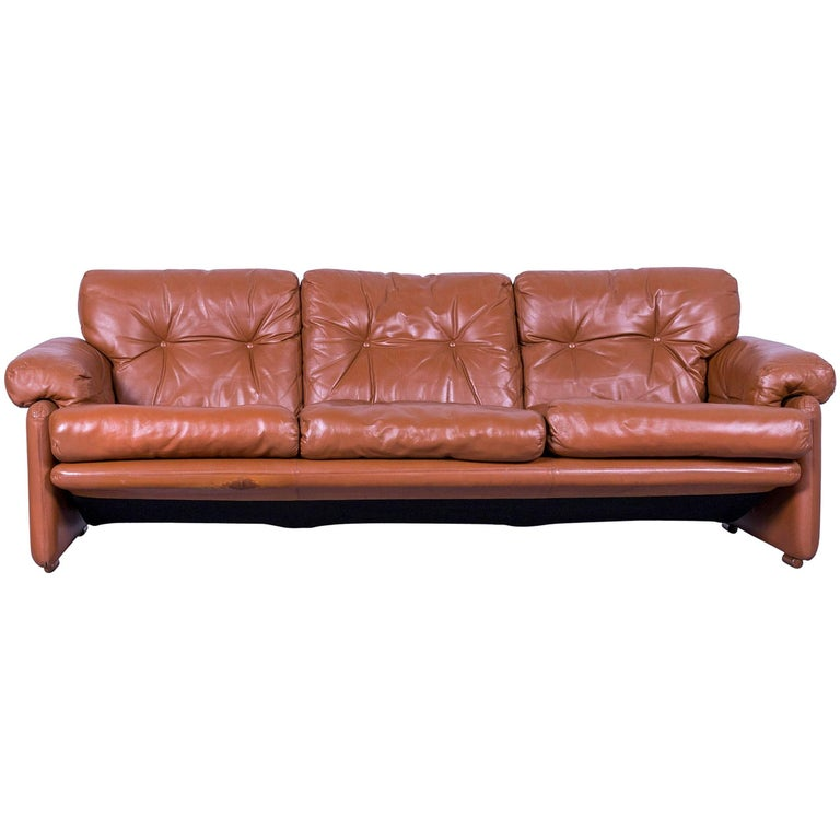 B&B Italia Coronado Designer Sofa, Brown Leather Three-Seat