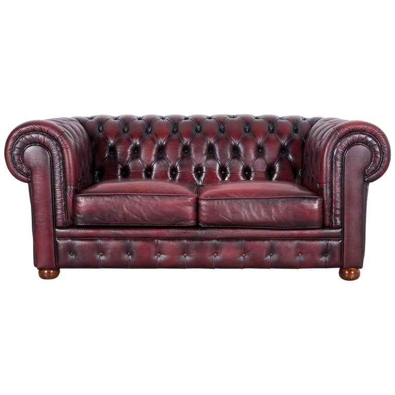 Chesterfield Leather Sofa Red Two-Seat Couch