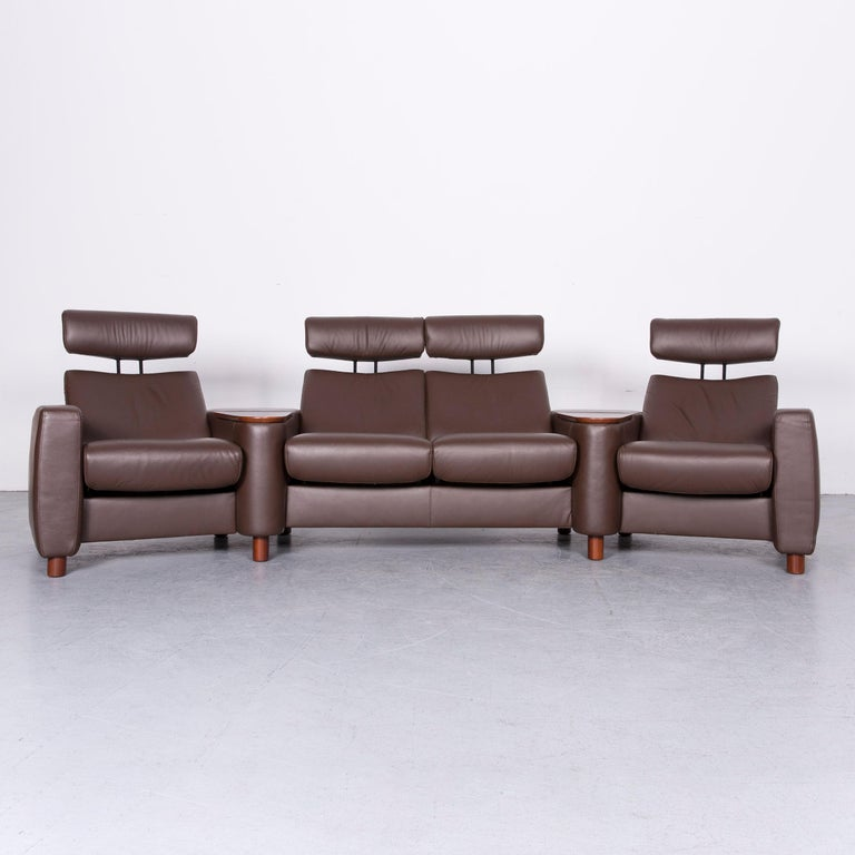 We Bring To You An Ekornes Stressless Arion Sofa Brown Leather Four Seat With Function