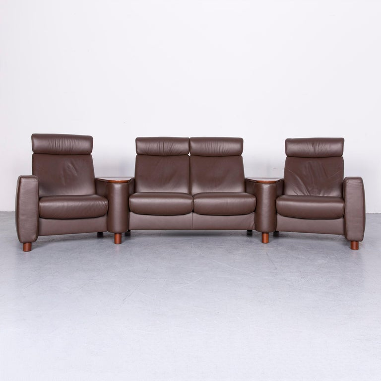 We Bring To You An Ekornes Stressless Arion Sofa Footstool Set Brown Leather Four Seat