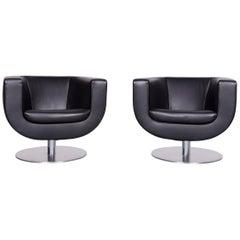 B&B Italia Tulip Designer Leather Armchair Set Black Chair