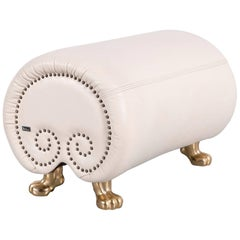 Bretz Gaudi Leather Foot-Stool Bench Off-White