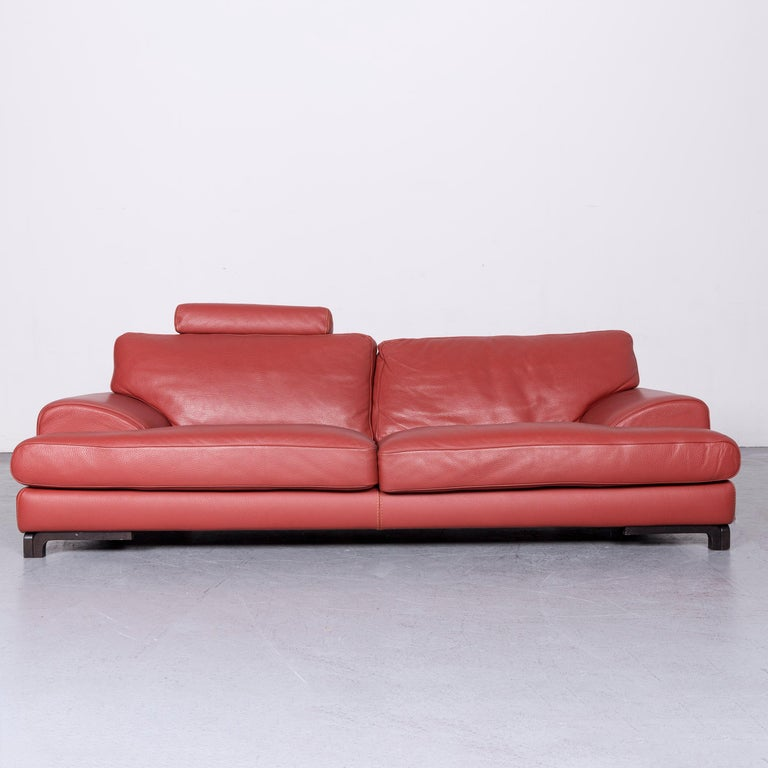 French Roche Bobois Designer Leather Sofa Red Two-Seat Couch For Sale