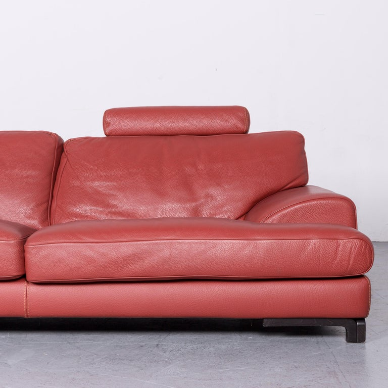 Contemporary Roche Bobois Designer Leather Sofa Red Two-Seat Couch For Sale