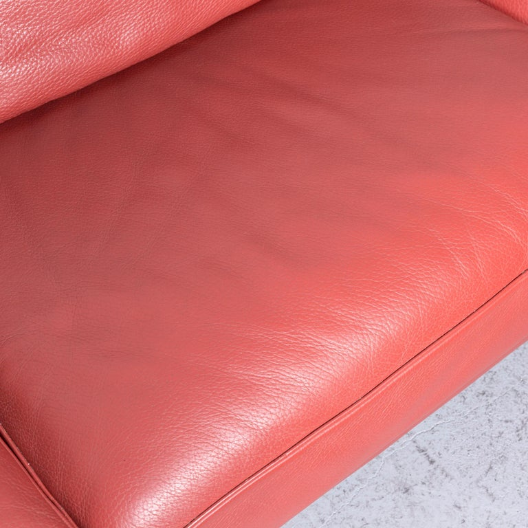 Roche Bobois Designer Leather Sofa Red Two-Seat Couch For Sale 1