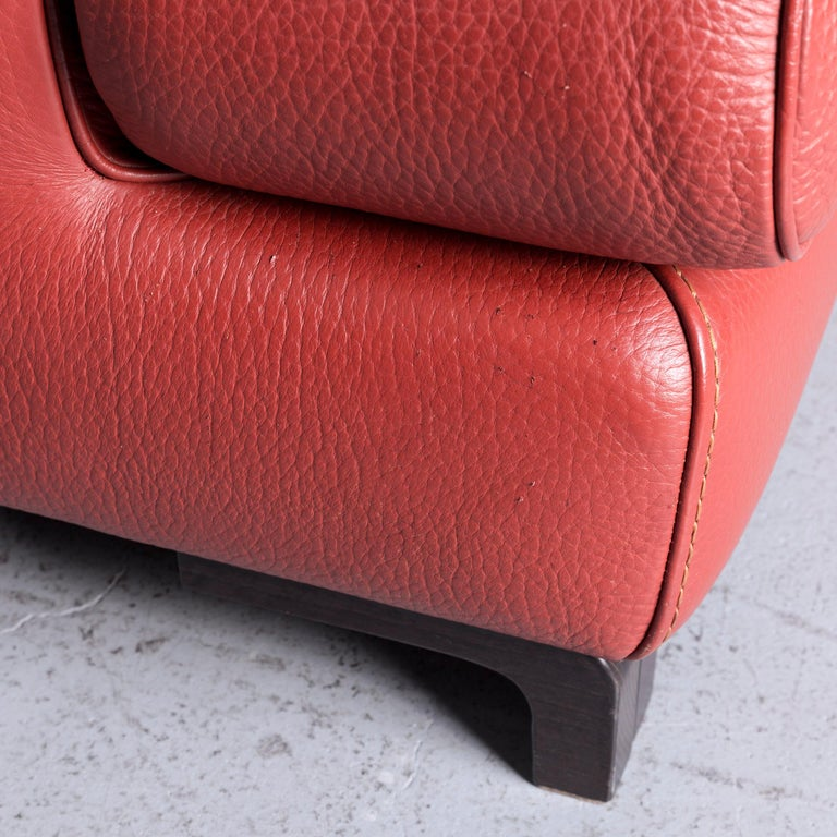 Roche Bobois Designer Leather Sofa Red Two-Seat Couch For Sale 2