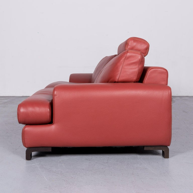 Roche Bobois Designer Leather Sofa Red Two-Seat Couch For Sale 6