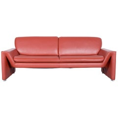 Laauser Corvus Designer Sofa Leather Red Three- Seat Couch Modern
