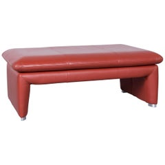 Laauser Corvus Designer Footstool Leather Red One Seat Couch Modern