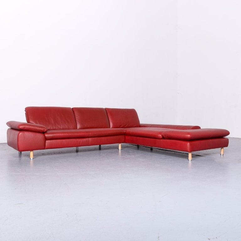 Willi Schillig Designer Leather Corner Sofa Red Corner-Couch In Good Condition For Sale In Cologne, DE
