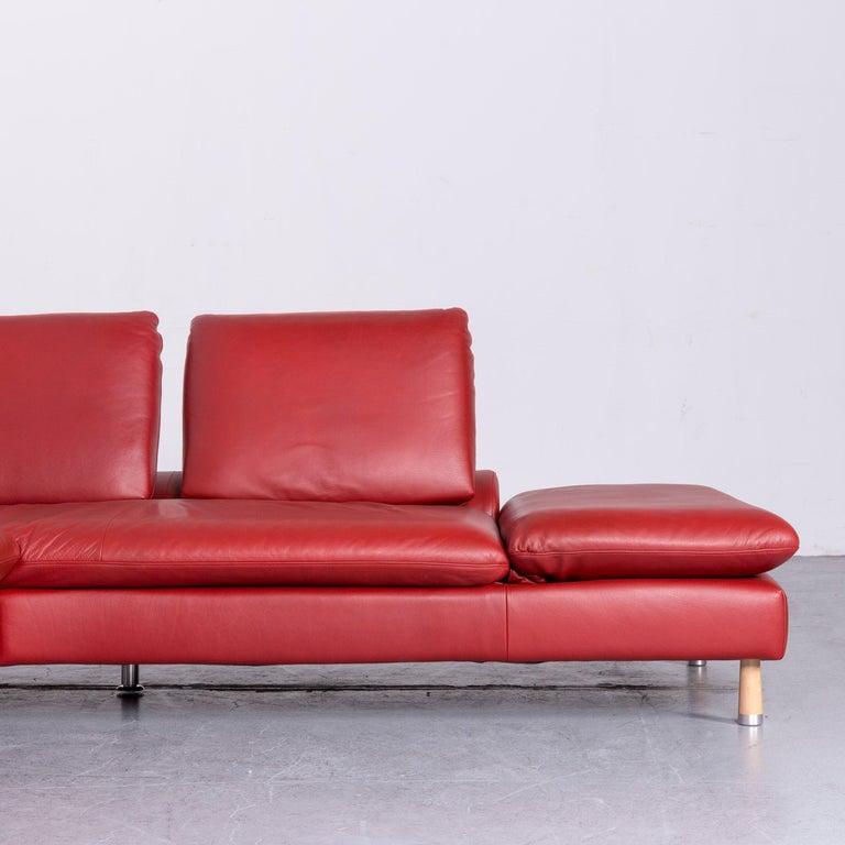 Willi Schillig Designer Leather Corner Sofa Red Corner-Couch For Sale 1