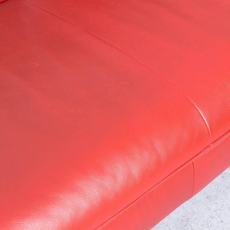 Willi Schillig Designer Leather Corner Sofa Red Corner-Couch For Sale 2