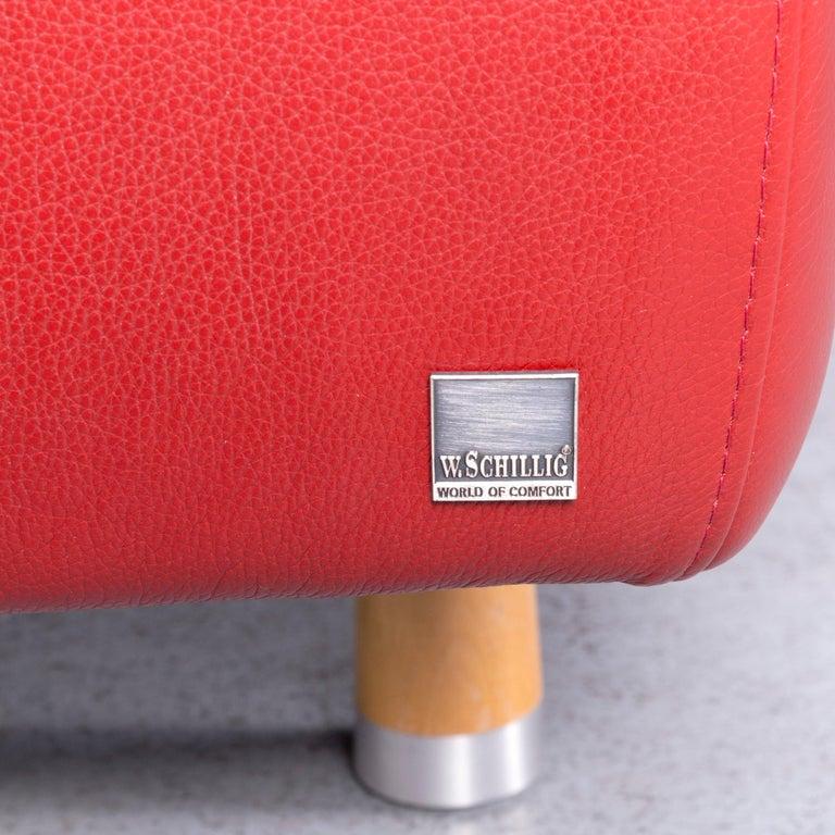 Willi Schillig Designer Leather Corner Sofa Red Corner-Couch For Sale 3