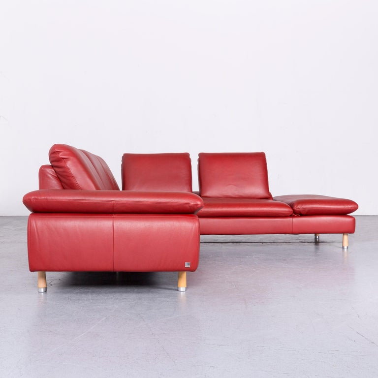 Willi Schillig Designer Leather Corner Sofa Red Corner-Couch For Sale 4