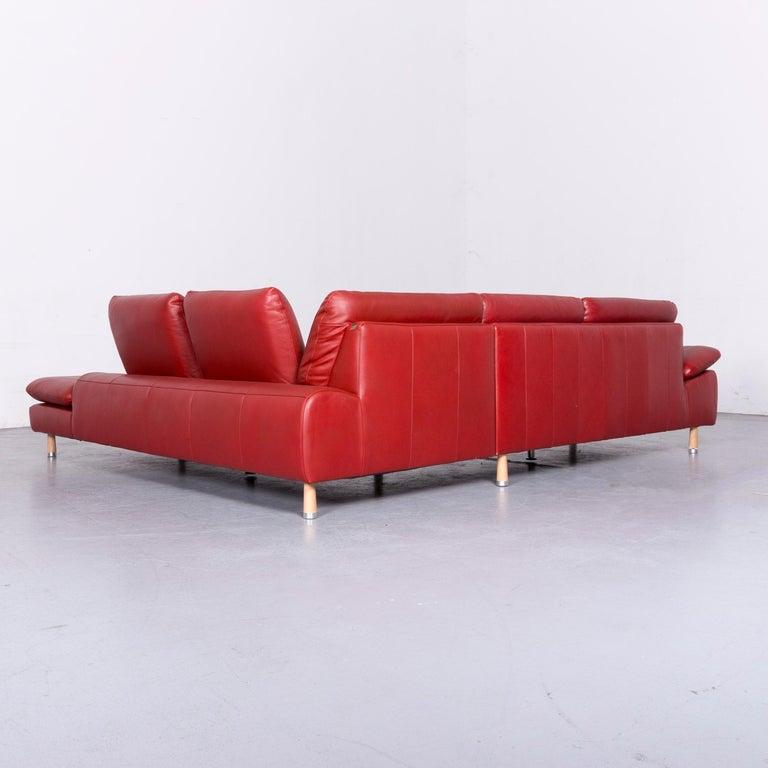 Willi Schillig Designer Leather Corner Sofa Red Corner-Couch For Sale 5