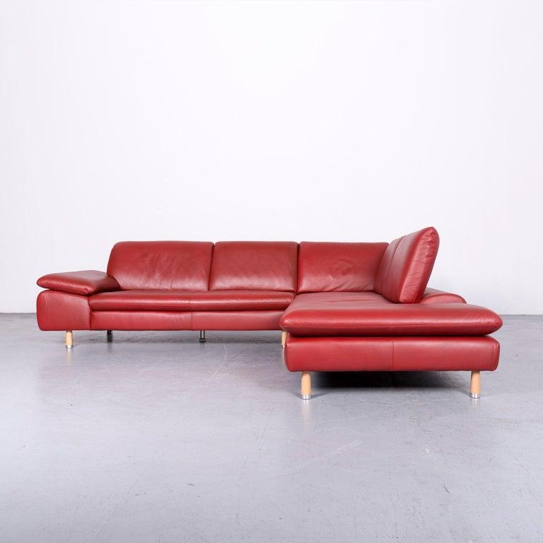 Willi Schillig Designer Leather Corner Sofa Red Corner-Couch For Sale 6