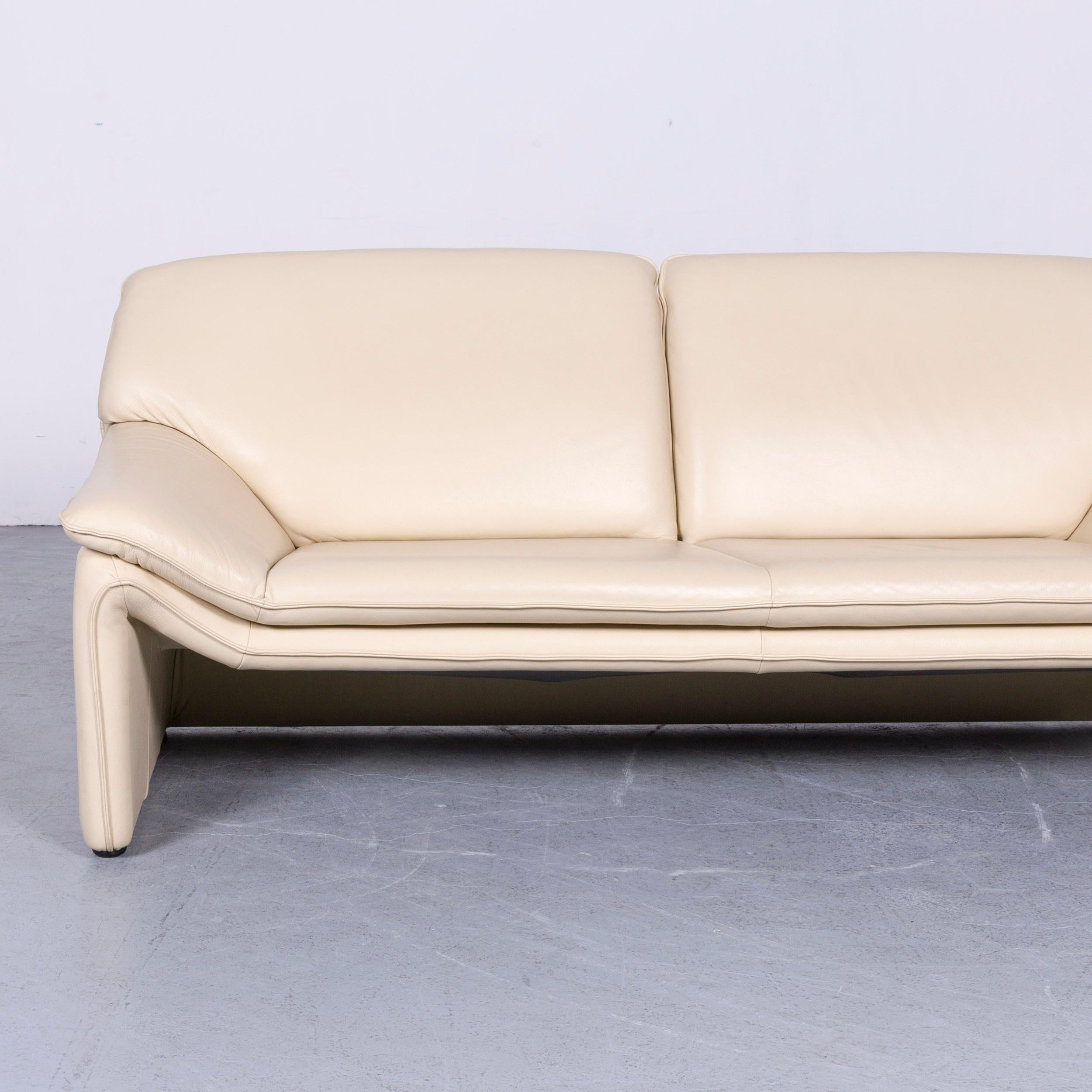 German Laauser Atlanta Designer Leather Sofa Crème Three Seat Couch For Sale