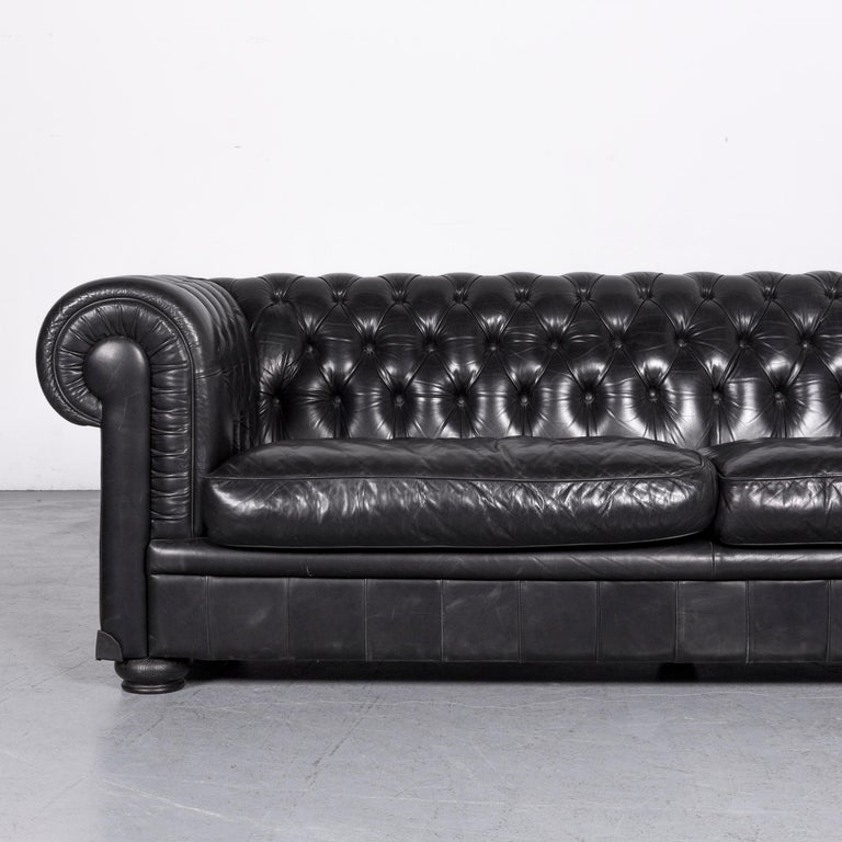 European Natuzzi King Designer Leather Sofa Three Seat Couch Black In Chesterfield Style For