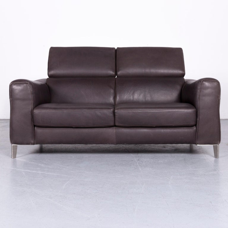 European Natuzzi Designer Leather Sofa Two Seat Couch Brown For