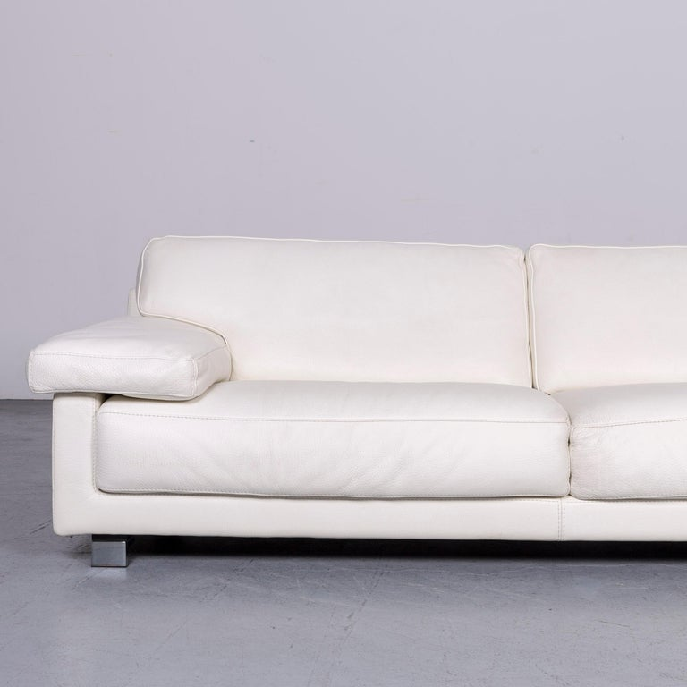 French Roche Bobois Designer Leather Sofa White Three-Seat Couch For Sale