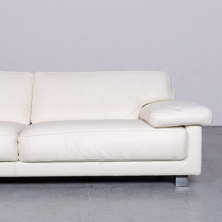 Roche Bobois Designer Leather Sofa White Three-Seat Couch In Good Condition For Sale In Cologne, DE