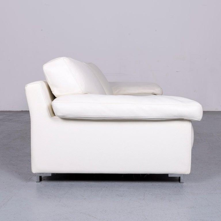 Roche Bobois Designer Leather Sofa White Three-Seat Couch For Sale 1
