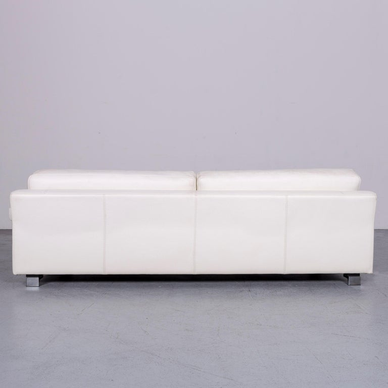 Roche Bobois Designer Leather Sofa White Three-Seat Couch For Sale 2