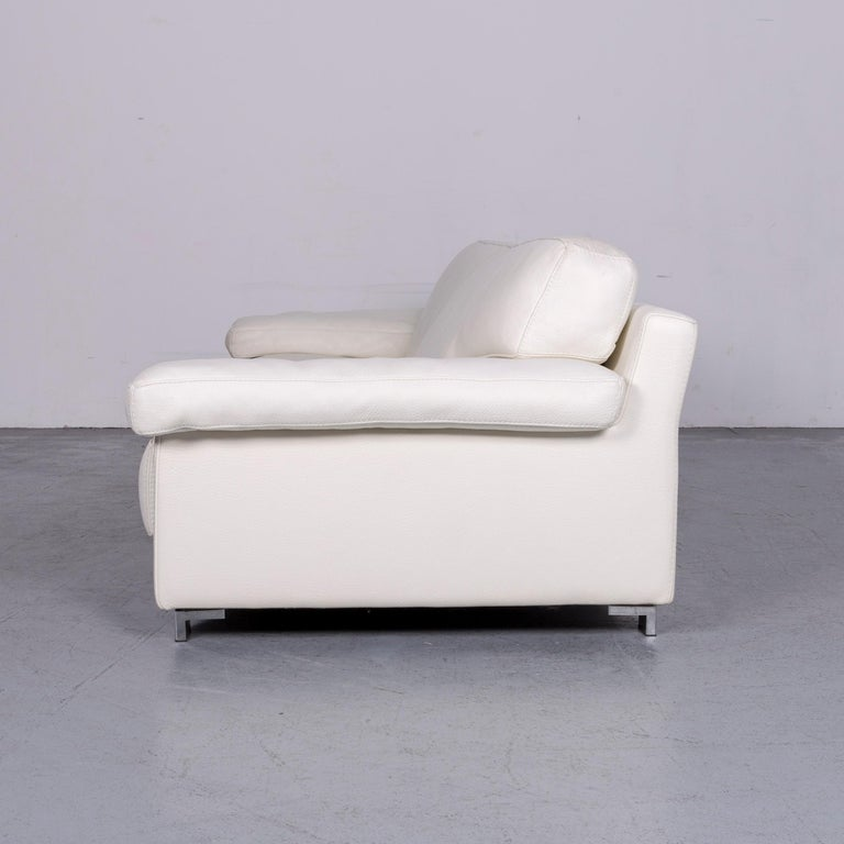 Roche Bobois Designer Leather Sofa White Three-Seat Couch For Sale 3