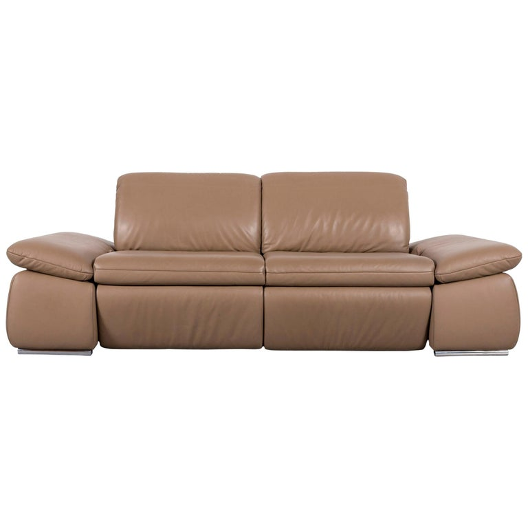 Koinor Designer Leather Sofa Brown Beige Couch Two-Seat Relax Function