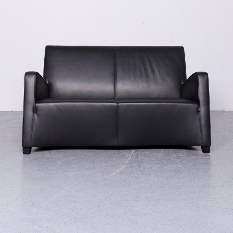 We Bring To You A Wittmann Duke Designer Leather Sofa Armchair Set Black Two Seat