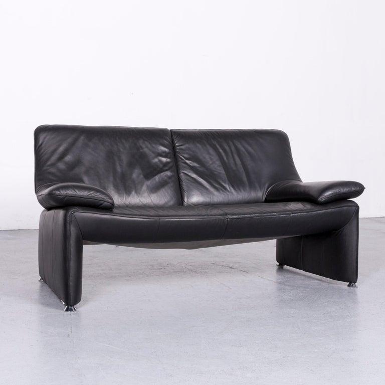 Laauser Flair Designer Leather Sofa Armchair Set Black For 7