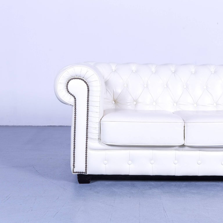 British Chesterfield Three-Seat Sofa White Leather Couch Vintage Retro Rivets