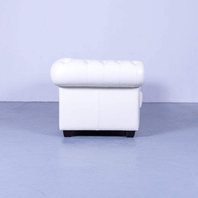 Chesterfield Three-Seat Sofa White Leather Couch Vintage Retro Rivets 5