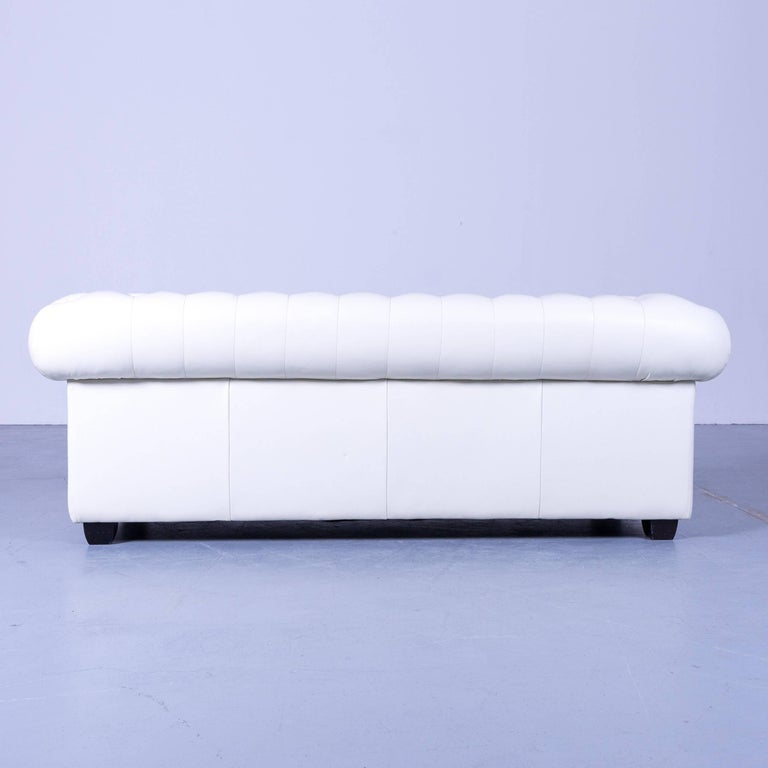 Chesterfield Three-Seat Sofa White Leather Couch Vintage Retro Rivets 6