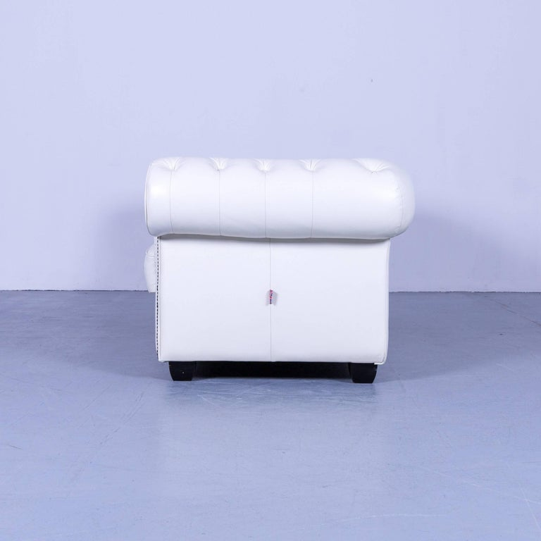 Chesterfield Three-Seat Sofa White Leather Couch Vintage Retro Rivets 7
