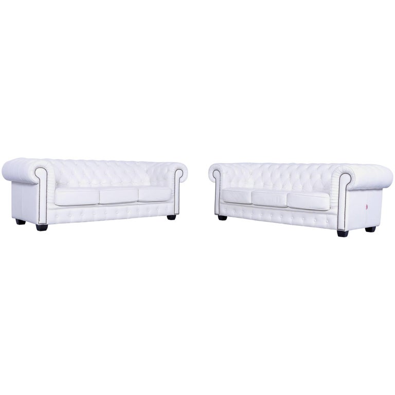 Chesterfield Three-Seat Sofa Set of Two White Leather Couch Vintage Retro Rivets