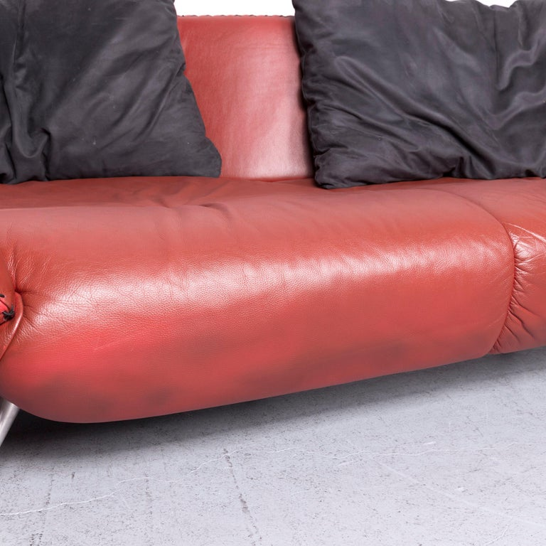 De Sede Ds 102 Designer Leather Sofa Red Two-Seat Couch For Sale 3