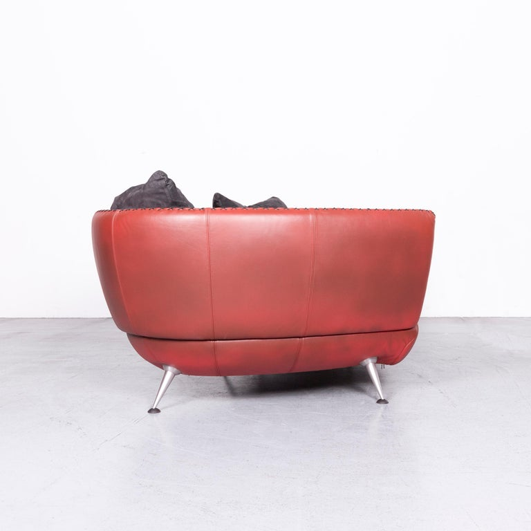 De Sede Ds 102 Designer Leather Sofa Red Two-Seat Couch For Sale 4
