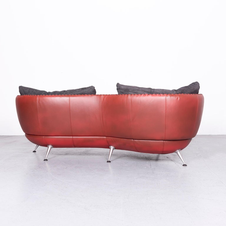 De Sede Ds 102 Designer Leather Sofa Red Two-Seat Couch For Sale 5