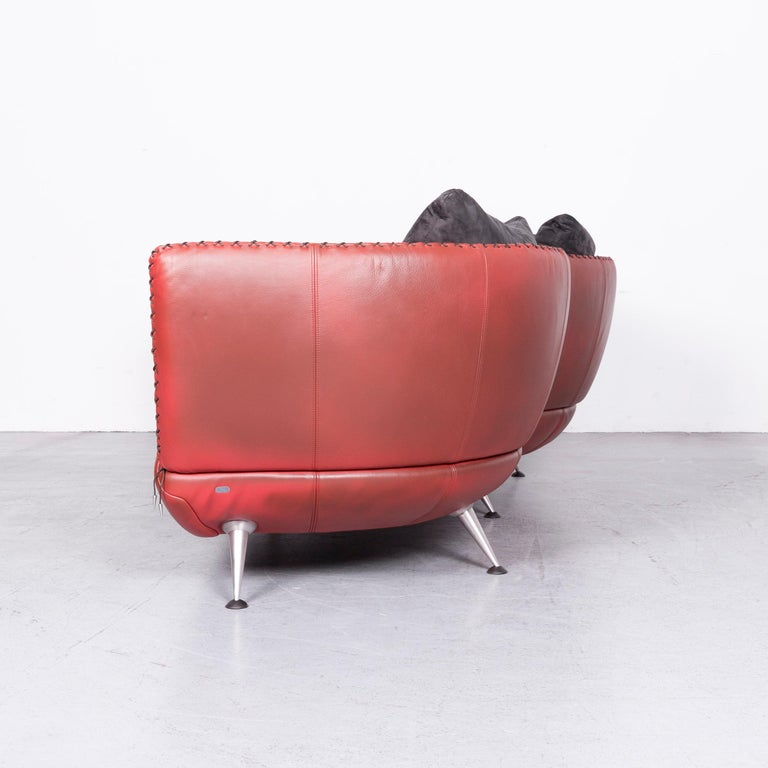 De Sede Ds 102 Designer Leather Sofa Red Two-Seat Couch For Sale 6