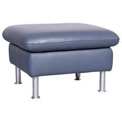 Koinor Designer Leather Footstool Blue Bank