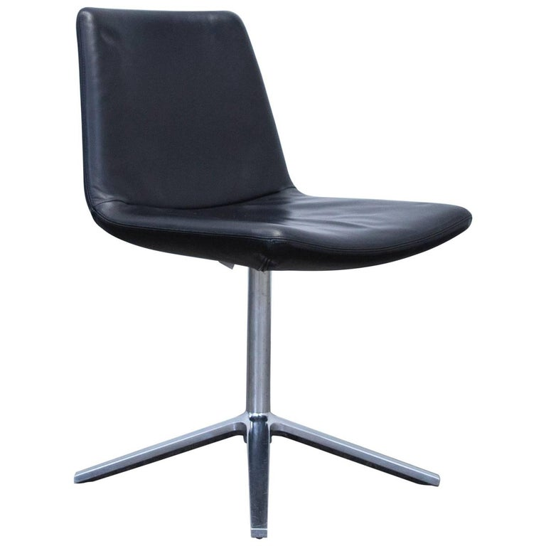 B&B Italia Leather Chair Black Modern Bistro Swiss Air Lounge Zurich Chrome